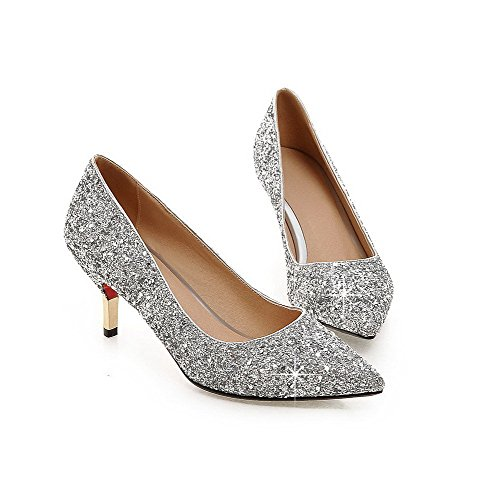 VogueZone009 Women's Pull-on High-Heels Sequins Solid Pointed Closed Toe Pumps-Shoes Silver Mbf7OjcQ