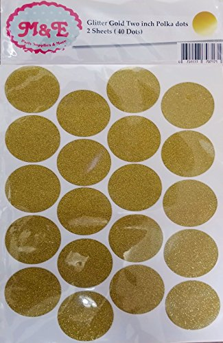 r 2 inch Polka dots,Confetti Dot Wall Decals (2 Sheets)(Total 40 dots 2 inch Each) (Glitter Gold 2) ()