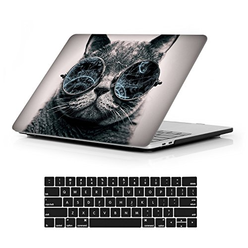 "iCasso Macbook New Pro 13 Case 2017 and 2016 Release Hard Shell Cover For Newest 13-inch Macbook Pro 13""Retina Model A1706/A1708 with/without Touch Bar and Touch ID with Keyboard Cover -Cool Cat"