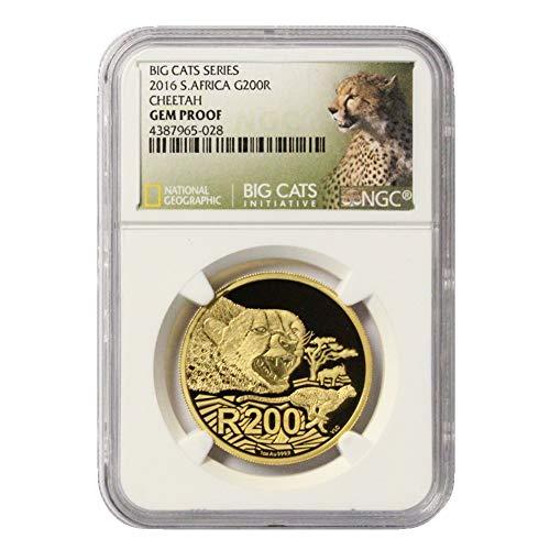 (2016 ZA 1 Oz Gold Big Cats Series - Cheetah 200 Rand Gem Proof NGC)