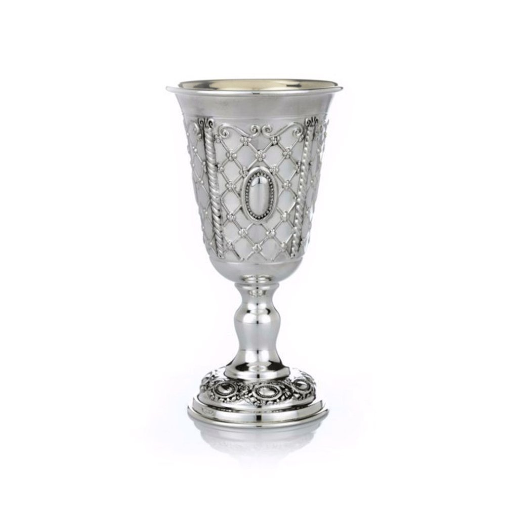 Hadad Bros Sterling Silver Kiddush Cup with Reshet Design- Judaica Gifts Wine Goblet