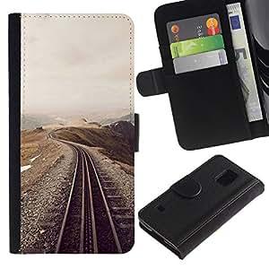// PHONE CASE GIFT // Moda Estuche Funda de Cuero Billetera Tarjeta de crédito dinero bolsa Cubierta de proteccion Caso Samsung Galaxy S5 V SM-G900 / Railroad Scenery /
