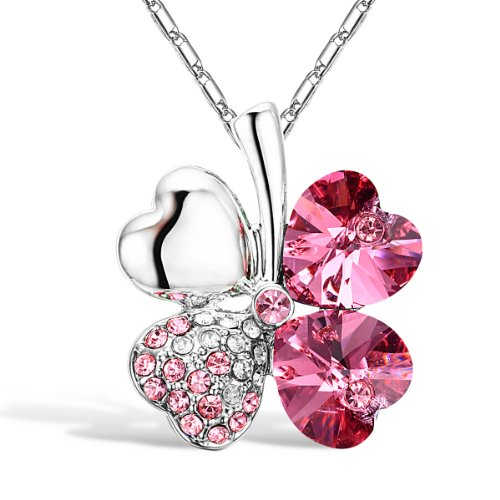 "Merdia Four Leaf Clover Heart-shape Crystal Pendant Necklace 16"" + 5"" Extender (Rose-red Four Leaf Clover Pendant)"