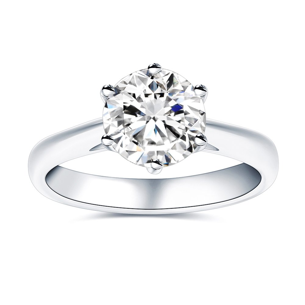 89c47b0225f4e VAN RORSI&MO 2.0CT 8.0mm Moissanite Engagement Wedding Ring For Women HI  Colorless With Sterling Silver