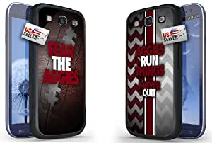 """Fear The Aggies and """"Aggies Run Things"""" Sports Chevron Black Plastic Cover Case COMBO PACK for Samsung S3"""