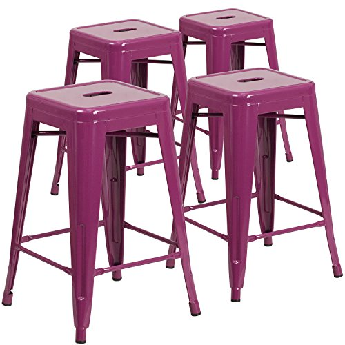 "Flash Furniture 4 Pk. 24"" High Backless Purple"