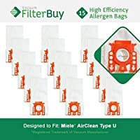 15 FilterBuy Miele Type U Compatible Vacuum Bags, Replaces Miele Part # 07282050. Designed by FilterBuy to fit Miele AirClean S7000-S7999 Upright Vacuum Cleaners