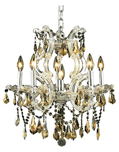 Elegant Lighting 2801D20C-Gt/Ss Swarovski Elements Smoky Golden Teak Crystal Maria Theresa 6-Light, Single-Tier Crystal Chandelier, Finished in Chrome with Smoky Golden Teak Crystals ()