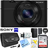 Sony Cyber-shot DSC-RX100 20.2 MP Compact Digital Camera with F1.8 Zeiss Vario-Sonnar T lens w/3.6x zoom Bundle with 64GB Memory Card Spare Battery Case LCD Screen Protectors (Starter Bundle)