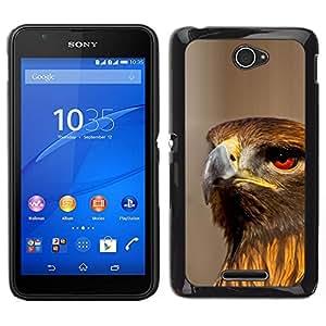 EJOY---Cubierta de la caja de protección para la piel dura ** Sony Xperia E4 ** --Halcón pájaro Ornitología Naturaleza Presa Caza