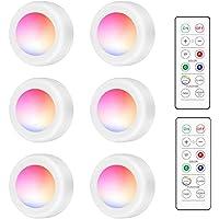 Kabinet Verlichting, swonuk RGB LED Draadloze Puck Lights met Afstandsbediening 16 Kleuren Kast Verlichting Nachtlampje…