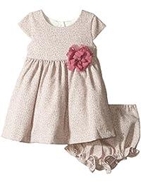 Baby Girls' Cap Sleeve Dress with Waist Corsage