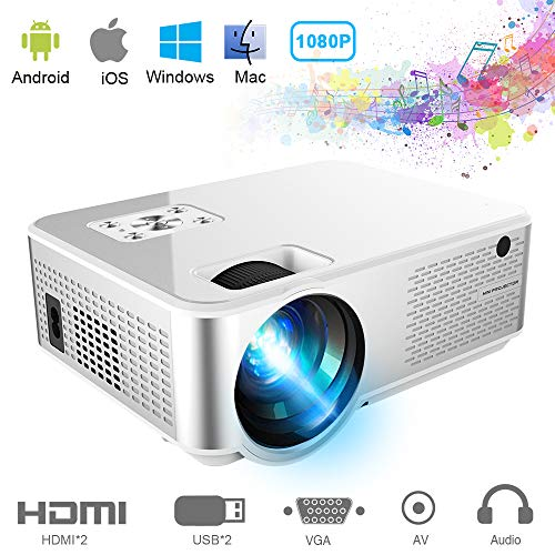 Mini Projector 3600 Lumens, Ifmeyasi Portable Video Projector Native 720P Full HD, LED Home Theater Projector, Support 1080P with 2HDMI, 2USB, AV, VAG for Smartphones PC Laptop Video Games