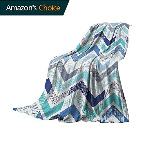 Modern Children's Blanket,Seamless in Doodle Style Dots and Zigzag Pattern with Asymetrical Lines Image Microfiber All Season Blanket for Bed or Couch Multicolor,60