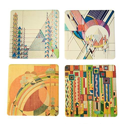 Frank Lloyd Wright Coasters - CoasterStone AS4035 1 Absorbent Stone Coasters, Frank Lloyd Wright