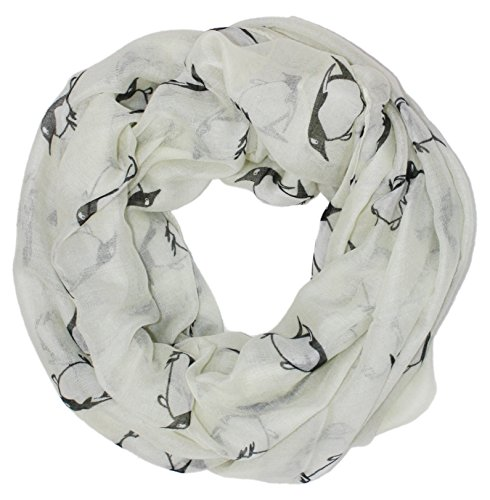 Whimsical Penguin (Ted and Jack - Happy Penguin Whimsical Print Infinity Scarf In White)