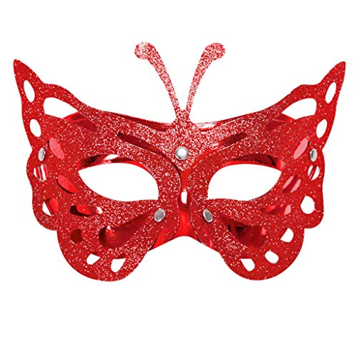 Amaping Elegant Princess Retro Hollow Out Butterfly Pattern Novelty Decorative Mask Masquerade Lace Prom Party Mask Half Face Carnival Fancy Party Mask (Red)