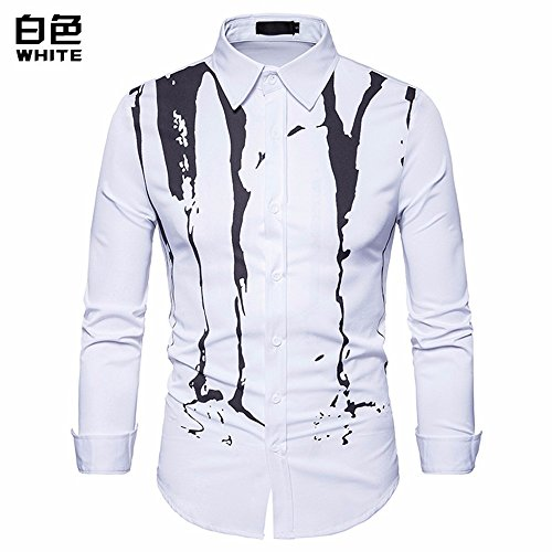 Amazon.com: GK Long Sleeves Slim Fit Dress Shirts Casual Tops Stamp long sleeve T-shirt solid color inkjet: Sports & Outdoors