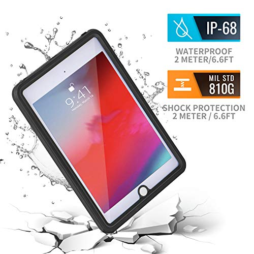 iPad Mini 5 Waterproof Case 2019, meritcase Shockproof Dustproof Full-Body Heavy Duty Protective Case with Built-in Screen Protector & Dual Layer Design for Apple iPad Mini 5Gen(7.9inch)-Clear Black