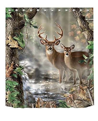 LB Wildlife Shower Curtain,3D Printing Rustic Elk Foggy Forest Scene Shower Curtain Waterproof Fabric Deer Bathroom Decor 60x72 Inches with Hooks