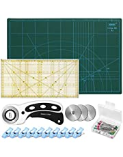 Rotary Cutter Kit, 45mm Rotary Cutter Tool Kit with Rotary Cutter, A3 Cutting Mat, patchwork ruler, 10 fabric clips, 50 pins and 3 Spare blades