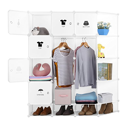 LANGRIA 12-Cube DIY Muti-use Portable Storage Drawer Closet Wardrobe, Organizer System,bookcase, cabinet with Lids, Hanging Rod, Various Category Icons Stickers for Home Decoration, Milky White (Wardrobe Closet With Drawers)