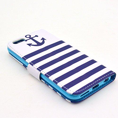 Voguecase® Schutzhülle Tasche Leder Brieftasche Hülle Case Cover für Apple iPhone 6 4.7 Zoll (Lächeln Gesicht) + Gratis Universal Eingabestift