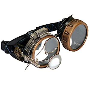 Steampunk Victorian Style Goggles with Compass Design & Ocular Loupe, Rave Glasses