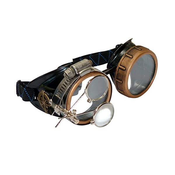 Steampunk Victorian Style Goggles with Compass Design & Ocular Loupe, Rave Glasses 3
