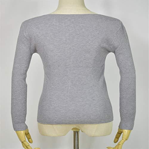con Sweater Grande Core Maniche Dolce V con Shirloy Lunghe Sweater Warm Grigio Yarn Scollo a Coulisse Femminile a Bottoming RqwUazx
