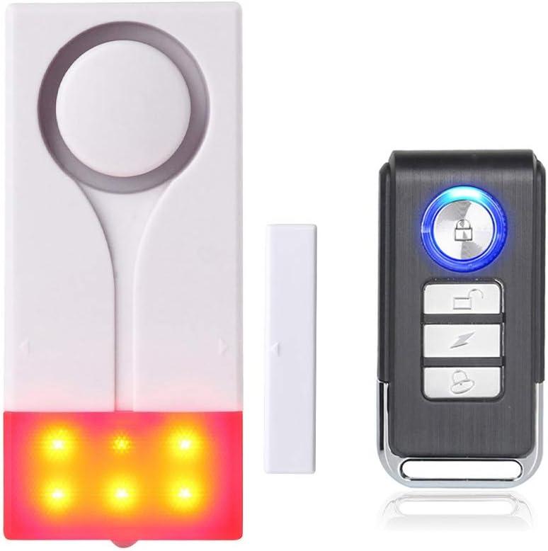 Mengshen Alarma de Puertas y Ventanas - Alarma Inalámbrica con 105db Sonido Fuerte y Luz Brillante, Fácil De Instalar (Incluye 1 Alarma y 1 Control Remoto)