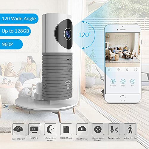 TriVision Home Camera, HD WiFi Pet Cam with Two-Way Audio, Night Vision, Wide Angle, SD Card and Cloud Storage, Motion Alerts with iPhone, Android Phone App for Home/Baby/Pet Monitor