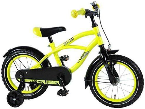 .Volare Vélo Enfants Garçon 14 Pouces Yellow Cruiser Frein Avant sur Le Guidon et Le Frein Arrière à Rétropédalage Roues de Stabilisation Jaune Assemblé à 95%
