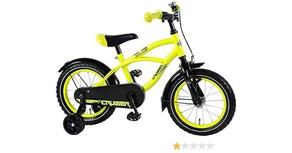Volare Bicicleta Niño Yellow Cruiser 14 Pulgadas Ruedas Extraíbles Amarillo 95% Montado: Amazon.es: Deportes y aire libre