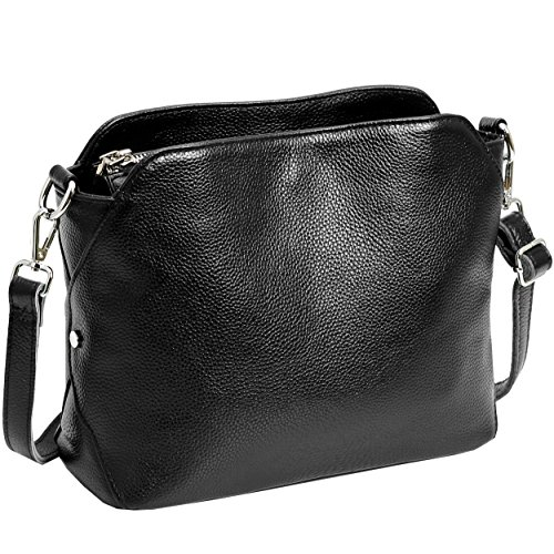 Leather Small Handbags Kenoor Shoulder Bag Hobo Ladies Purses Satchel Crossbody Bag for Office Lady (Black)