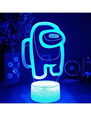 Amo-ng Us 3D Illusion Table Lamp, Creative Lighting for Kids Bedroom Decoration, 2 Patterns 16 Colors Remote Control Night Light,Illusion Night Light Amo-ng Us Cool Lamps