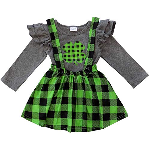 (So Sydney Suspender & Skirt 2 Piece Outfit, Girls Toddler Winter & Spring Holiday Dress Up Boutique Outfit (4T (M), Buffalo Plaid Lime)