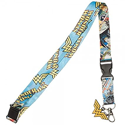 Wonder Woman Comic Strip Reversible Breakaway Keychain Lanyard with ID Holder, Rubber Charm and Collectible Sticker
