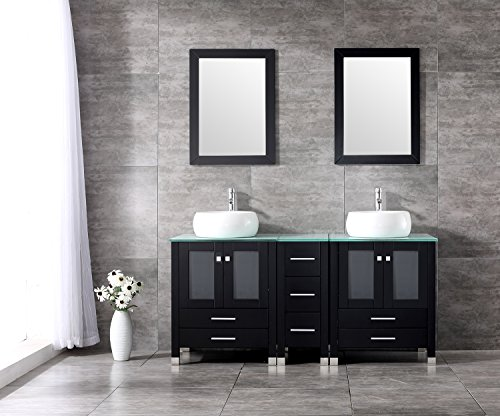 "Walcut 60"" Bathroom Cabinet With Double White Cylinder Vessel Sink Solid Wood Bathroom Tempered Glass Countertop Vanity Design w/Mirror- Without P-traps by WALCUT"