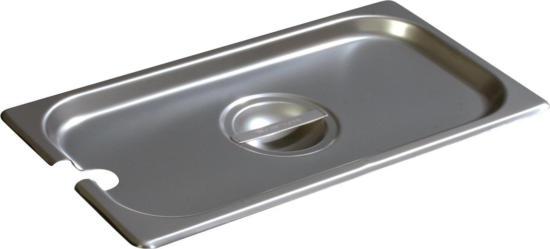 Carlisle 607130CS DuraPan Light Gauge Stainless Steel Third-Size Food Pan Slotted Handled Cover (Pack of 6)