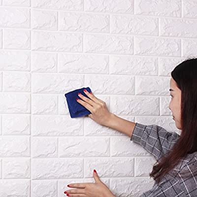 "20Pcs 3D Brick Wall Stickers Self-adhesive Panel Decal PE Wallpaper PE Foam Self Adhesive Brick Pattern Soft Pack TV Sofa Background Living Room Decoration 23.6""23.6""(60x60cm)"