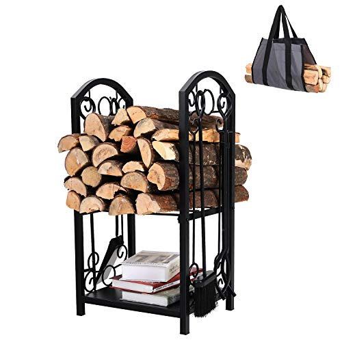 PHI VILLA All-in-One Heavy Duty Hearth Indoor/Outdoor Firewood Rack with Fireplace Tools Set, 28 Inch Tall Log Holder, Black (All In One Wood Rack)