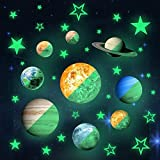MONEIL 36pcs Removable Luminous Wall Stickers, Glow in The Dark 9 Planet and 27pcs Stars, Solar System Glowing Planets Wall Decals Peel Stick Art Decor for Nursery Girls and Boys Bedroom Living Room