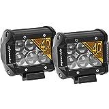 Led Light Pods,Eyourlife Fish Eye 18W 4D Lens Spot Beam Off Road Work Light Bar With Waterproof For Jeep Atv Utv Driving Headlight Pods Spot 2Pcs