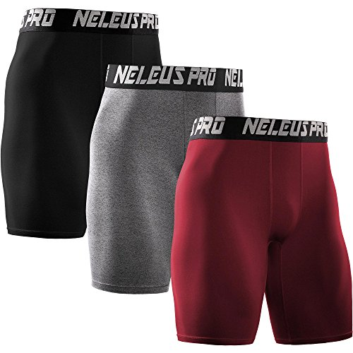 Neleus Men's 3 Pack Athletic Compression Short,6028,Red,Black,Grey,US XL,EU - Men's 3 Running Shorts