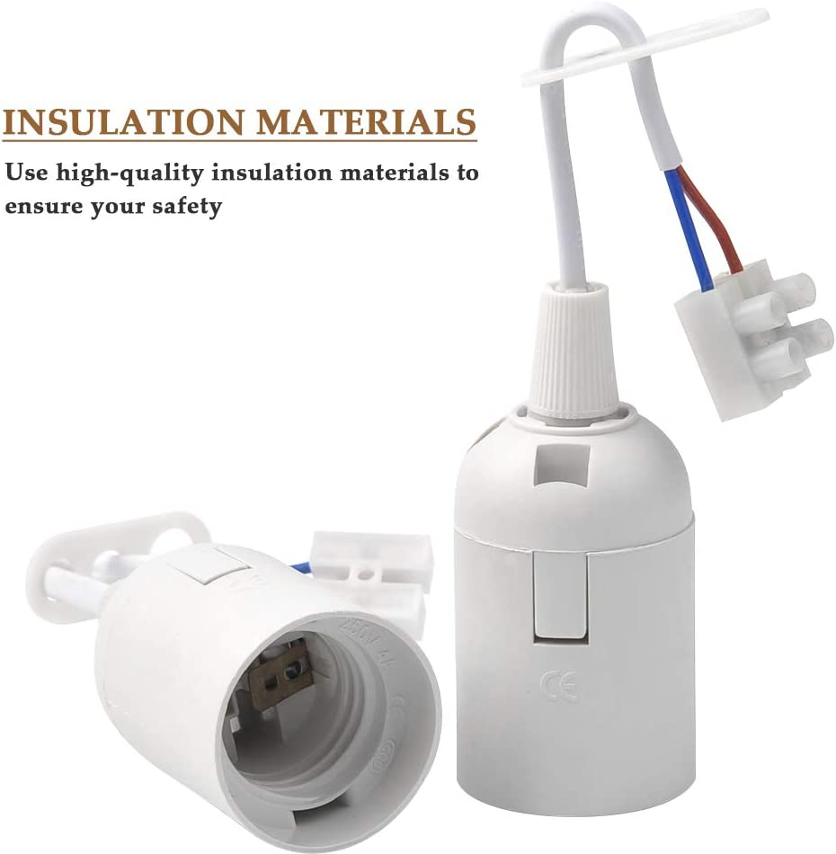 11 PCS E27 Lamp Holder Set Light Bulb Socket for E27 Lampholder White Light Fitting lamp Holder with Cable Socket and Electricity Pen Edison Light Bulb Socket
