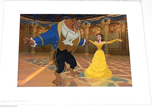 """Disney Beauty and the Beast Ball Room Dancing Lithograph Princess Bell 11""""x14"""""""