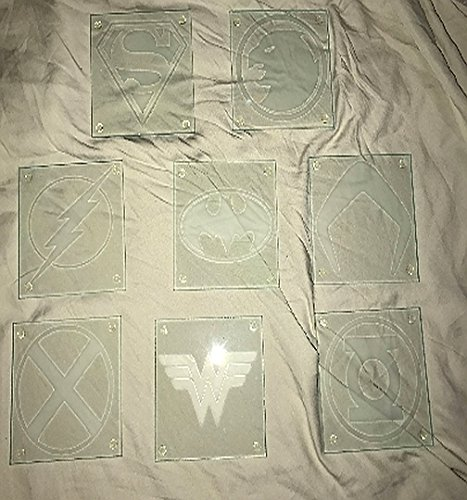 Justice League Members Limited Edition Mirror & Coaster Glass Etching Gift Set by CooltrcDesigns