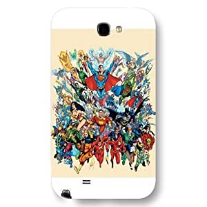 Justice League Custom Phone For SamSung Note 2 Case Cover DC comics Justice League Customized For SamSung Note 2 Case Cover Only Fit For SamSung Note 2 Case Cover (White Frosted Shell)