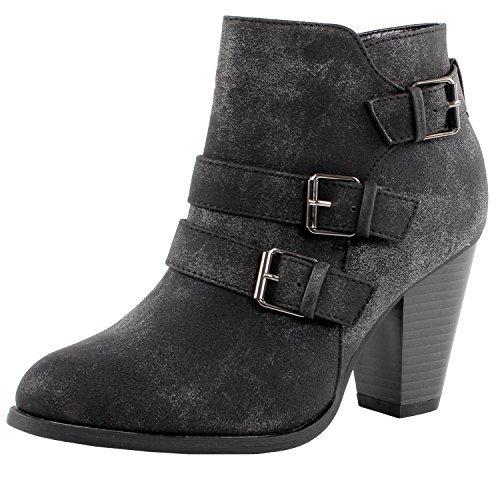 Forever Women's Buckle Strap Block Heel Ankle Booties, Black 9
